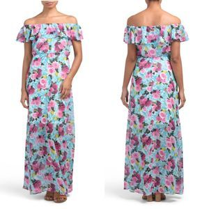 Betsy Johnson Floral Off the Shoulder Maxi Dress 6